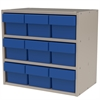 Modular Cabinet, 18x11x16, 9 Drawers, Gray/Blue