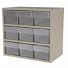Modular Cabinet, 18x11x16, 9 Drawers, Gray/Clear