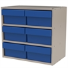 Akro-Mils Modular Cabinet, 18x11x16, 6 Drawers, Gray/Blue