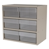 Akro-Mils Modular Cabinet, 18x11x16, 6 Drawers, Gray/Clear
