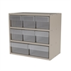 Akro-Mils Modular Cabinet, 18x11x16, 8 Drawers, Gray/Clear