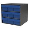 Akro-Mils Modular Cabinet, 18x17x16, 9 Drawers, Gray/Blue