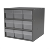 Modular Cabinet, 18x17x16, 9 Drawers, Gray/Clear