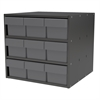 Modular Cabinet, 18x17x16, 9 Drawers, Gray