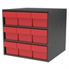 Akro-Mils Modular Cabinet, 18x17x16, 9 Drawers, Gray/Red