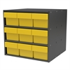 Akro-Mils Modular Cabinet, 18x17x16, 9 Drawers, Gray/Yellow