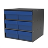 Modular Cabinet, 18x17x16, 6 Drawers, Gray/Blue