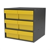 Akro-Mils Modular Cabinet, 18x17x16, 6 Drawers, Gray/Yellow