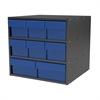 Modular Cabinet, 18x17x16, 8 Drawers, Gray/Blue