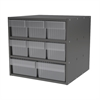 Modular Cabinet, 18x17x16, 8 Drawers, Gray/Clear