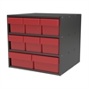 Modular Cabinet, 18x17x16, 8 Drawers, Gray/Red