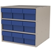 Akro-Mils Modular Cabinet, 18x17x16, 9 Drawers, Putty/Blue