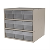 Modular Cabinet, 18x17x16, 9 Drawers, Putty/Clear