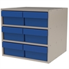 Akro-Mils Modular Cabinet, 18x17x16, 6 Drawers, Putty/Blue
