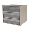 Modular Cabinet, 18x17x16, 6 Drawers, Putty/Clear