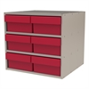 Akro-Mils Modular Cabinet, 18x17x16, 6 Drawers, Putty/Red