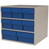 Modular Cabinet, 18x17x16, 8 Drawers, Putty/Blue