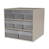 Modular Cabinet, 18x17x16, 8 Drawers, Putty/Clear