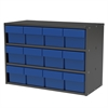 Modular Cabinet, 23x11x16, 12 Drawers, Gray/Blue