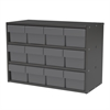 Modular Cabinet, 23x11x16, 12 Drawers, Gray/Clear