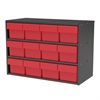 Akro-Mils Modular Cabinet, 23x11x16, 12 Drawers, Gray/Red