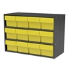 Akro-Mils Modular Cabinet, 23x11x16, 12 Drawers, Gray/Yellow