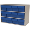 Modular Cabinet, 23x11x16, 12 Drawers, Putty/Blue