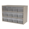 Akro-Mils Modular Cabinet, 23x11x16, 12 Drawers, Putty/Clear