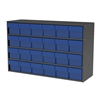 Stackable Cabinet, 35x11x22, 24 Drawers, Gray/Blue