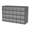 Akro-Mils Stackable Cabinet, 35x11x22, 24 Drawers, Gray/Clear