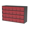 Stackable Cabinet, 35x11x22, 24 Drawers, Gray/Red