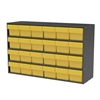 Akro-Mils Stackable Cabinet, 35x11x22, 24 Drawers, Gray/Yellow