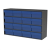 Akro-Mils Stackable Cabinet, 35x11x22, 16 Drawers, Gray/Blue