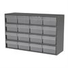 Akro-Mils Stackable Cabinet, 35x11x22, 16 Drawers, Gray/Clear