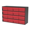 Akro-Mils Stackable Cabinet, 35x11x22, 16 Drawers, Gray/Red