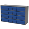 Stackable Cabinet, 16 Asst Drawers, Gray/Blue