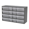 Stackable Cabinet, 16 Asst Drawers, Gray/Clear
