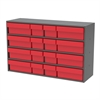 Stackable Cabinet, 16 Asst Drawers, Gray/Red
