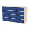 Stackable Cabinet, 35x11x22, 24 Drawers, Putty/Blue