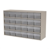 Akro-Mils Stackable Cabinet, 35x11x22, 24 Drawers, Putty/Clear