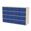 Akro-Mils Stackable Cabinet, 35x11x22, 16 Drawers, Putty/Blue
