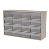 Stackable Cabinet, 35x11x22, 16 Drawers, Putty/Clear