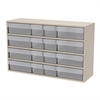 Akro-Mils Stackable Cabinet, 16 Asst Drawers, Putty/Clear