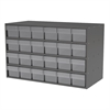 Akro-Mils Stackable Cabinet, 35x17x22, 24 Drawers, Gray/Clear