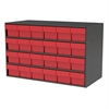 Akro-Mils Stackable Cabinet, 35x17x22, 24 Drawers, Gray/Red