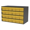 Stackable Cabinet, 35x17x22, 24 Drawers, Gray/Yellow