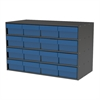 Akro-Mils Stackable Cabinet, 35x17x22, 16 Drawers, Gray/Blue