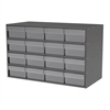Stackable Cabinet, 35x17x22, 16 Drawers, Gray/Clear