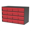 Stackable Cabinet, 35x17x22, 16 Drawers, Gray/Red
