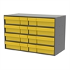 Stackable Cabinet, 35x17x22, 16 Drawers, Gray/Yellow